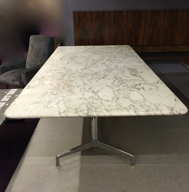 Big Size For This Vintage Carrare Marble Table By Herman Miller. Long: 250cm