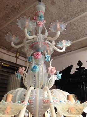 Impressive opalescent murano glass chandelier lighting stock rare to find impressive opalescent glass chandelier from murano rare white thick glass with pink and pale blue elements 18 arms on two levels aloadofball Images