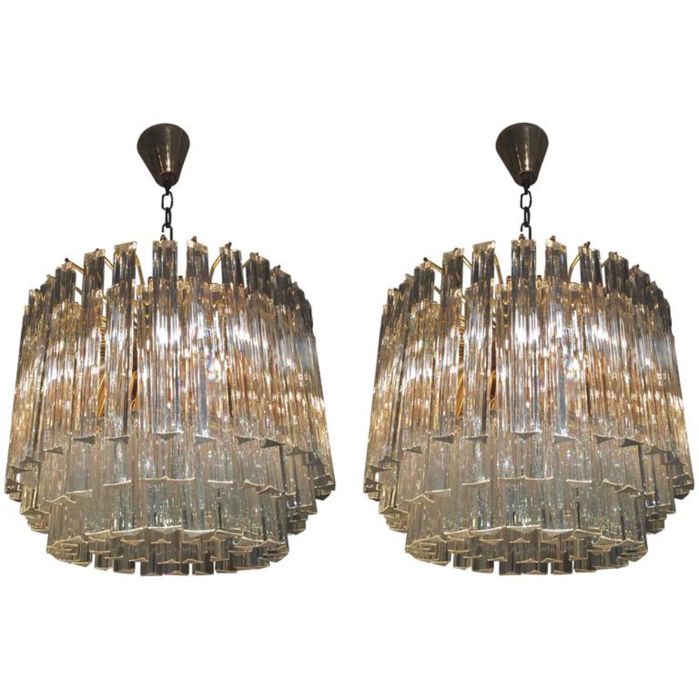 Murano Chandelier Nz: Pair Of Venini Glass Chandeliers