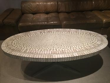 Interesting Oval Mosaic Coffee Table On A Stainless Steel Foot Long 120cm Circa 1970